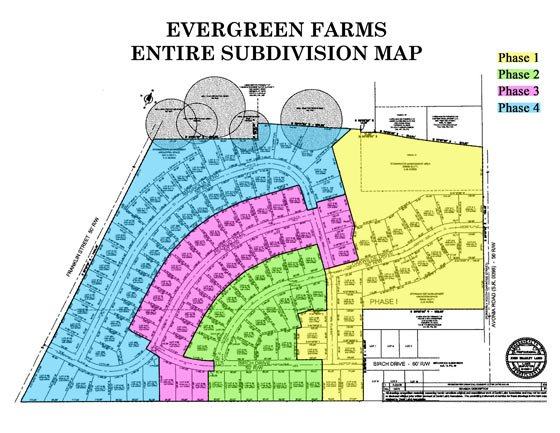 Evergreen Farms Entire Subdivision Map