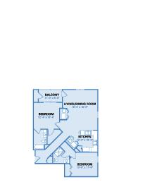 Shadow Pines Two Bedroom Floor Plan - Option A