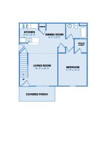 Village Floor Plan - One Bedroom