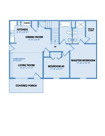 Village Floor Plan - Two Bedroom 1218 SF