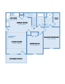Village Floor Plan - Two Bedroom 1324 SF