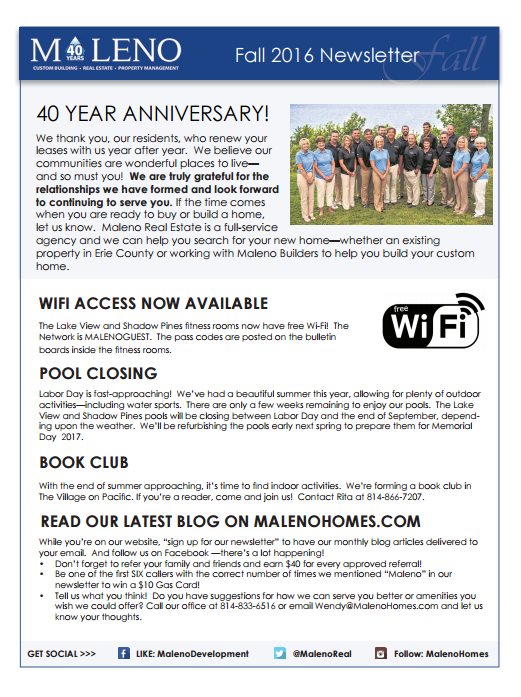 Maleno Newsletter 2016 Fall