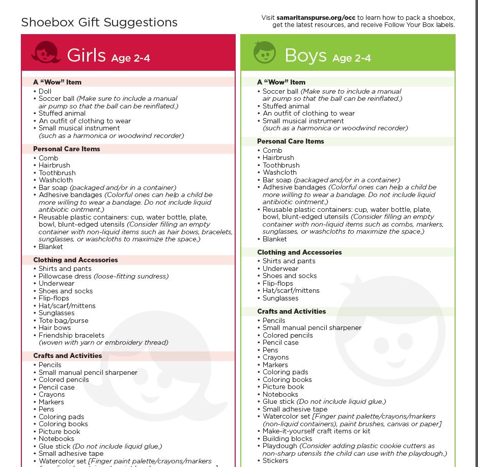Operation Christmas Child - Shoebox Items