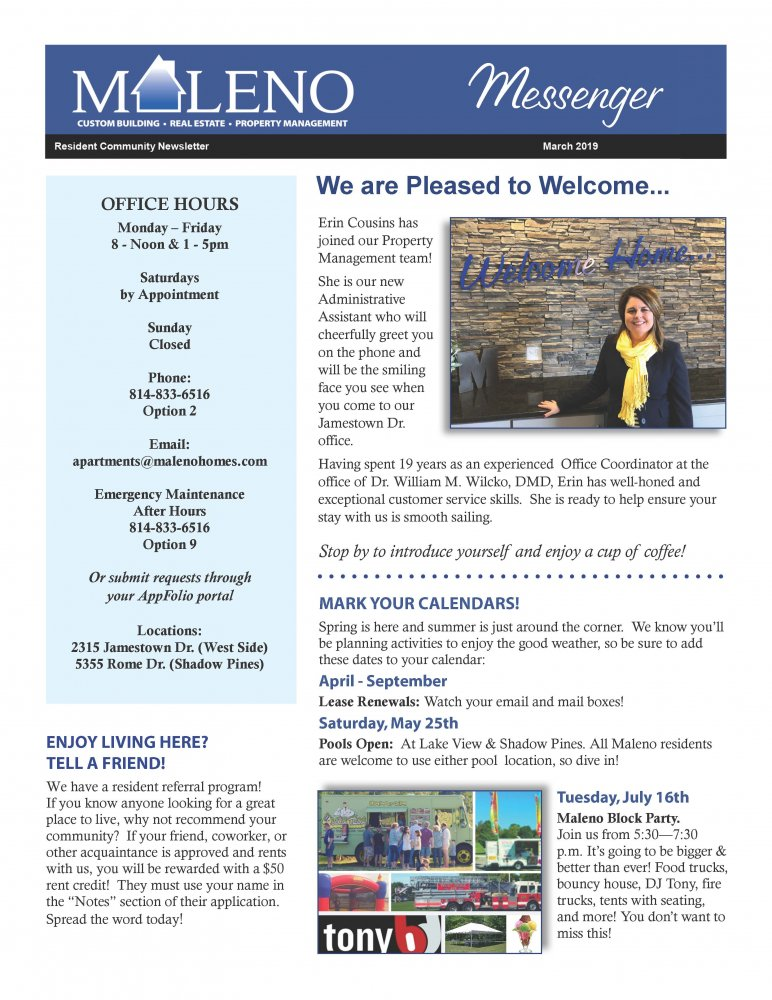 Maleno Newsletter 2019 March