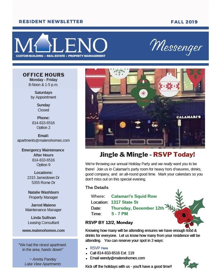 Maleno Newsletter 2019 November